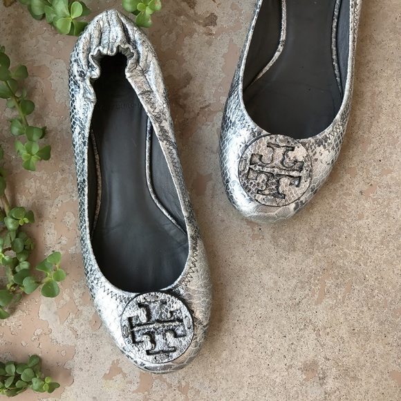 e8a6f8dbbf5 Tory Burch Shoes - Tory Burch Reva Flats Gray Silver Snakeskin