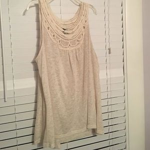 Cream tank with lace detailing