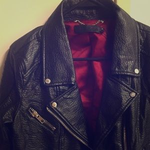 ABS leather jacket with red satin lining
