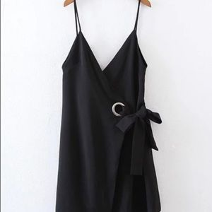 Double v-neck ring detail cami dress