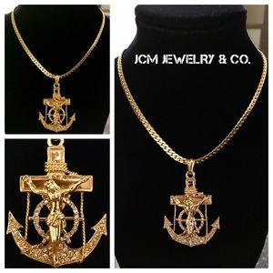 Other - 14K Gold Plated Miami Cuban w/ Anchor Crucifix