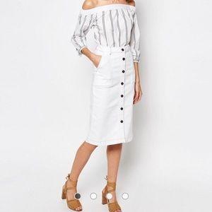 Warehouse Button Midi Skirt Size S