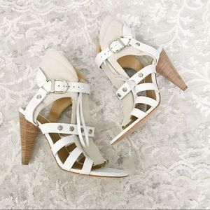 IRO White Leather Heeled Sandals