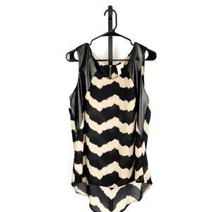 Adiva Sheer Hi-Lo Tiger Striped Tank Top