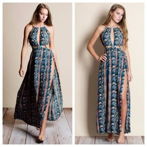 Cut Out Printed Maxi Dress