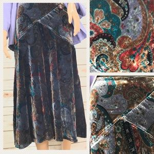 Coldwater Creek Mixed Print Velvet Skirt