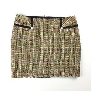Trina Turk Mini Neon Tweed Skirt // XL