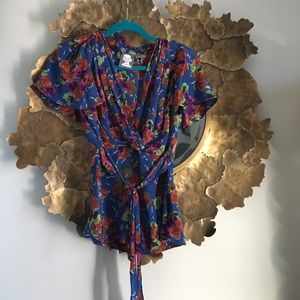 Anthropologie floral silk blouse like new