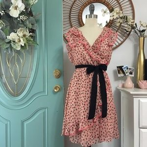 ✨SALE✨ H&M Ruffle Chiffon Dress w Black Sash Tie