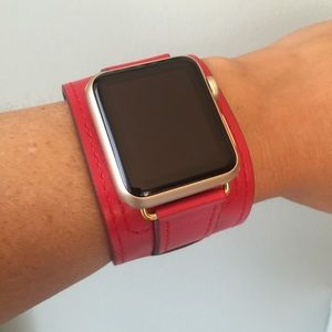 ⭐️GOLD Red Apple Watch Leather Cuff Band Strap