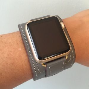 ⭐️GOLD Gray Apple Watch Leather Cuff Band Strap