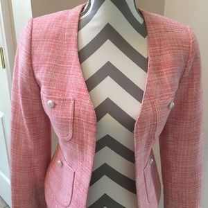 Apostrophe Blazer Pink Tweed with Pearl Accents
