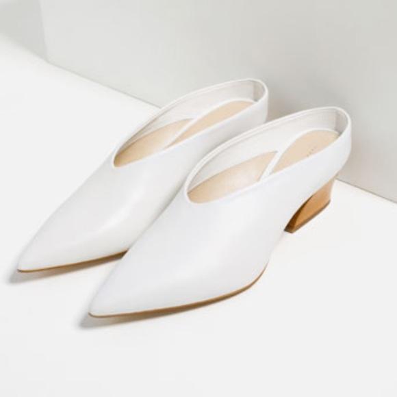 7c1a9a0ff811 Zara White Leather Mules