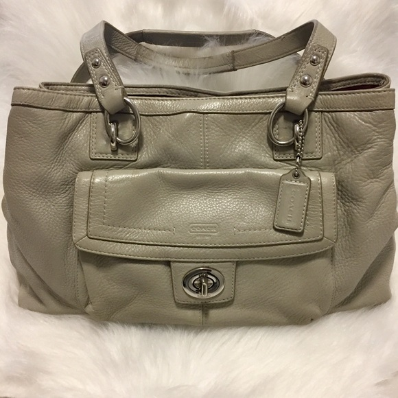 Coach Handbags - COACH Authentic All Leather Grey Tote