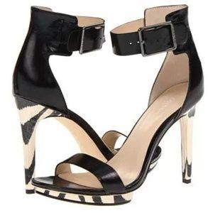 Calvin Klein Black Vivian Heels with Zebra Details