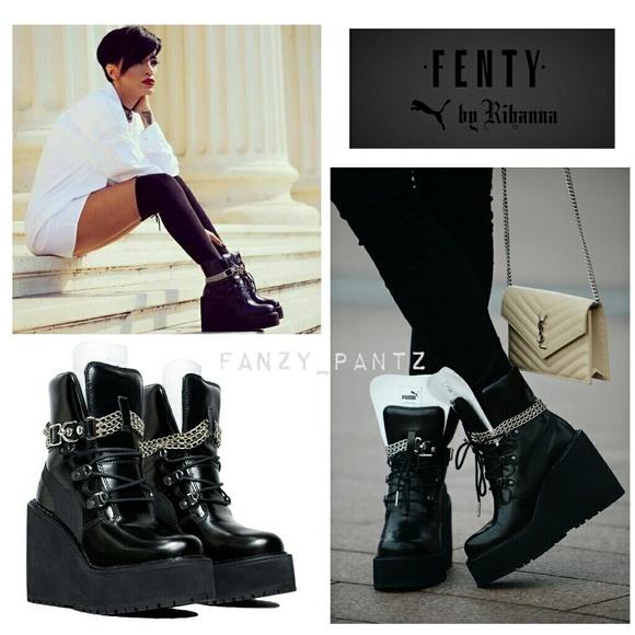 Puma Fenty by Rihanna platform wedge sneaker boot.  M 59b2b9c7fbf6f9543e02f56d d277802bf