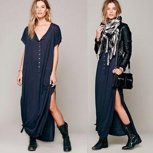 Solid Henley Maxi DRESS Marrakesh Dolman
