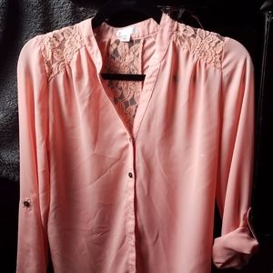 Button-down Blouse with lace detail