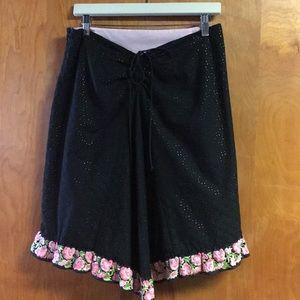 Shoshanna 8 Black and Pink gathered eyelet skirt