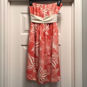 Strapless Coral and White Floral Fun Dress
