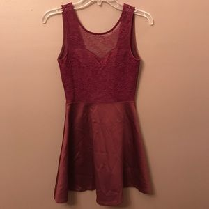 Wine Red Sweetheart Dress with Lace and Open Back