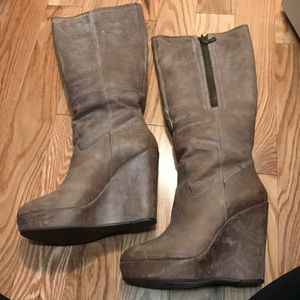 Distressed Taupe Platform Knee Boots