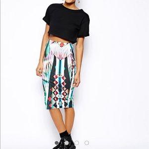 River Island Abstract Print Skirt