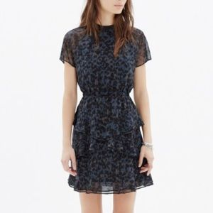 Madewell Radiant Ruffle Dress in Inkspot Leopard
