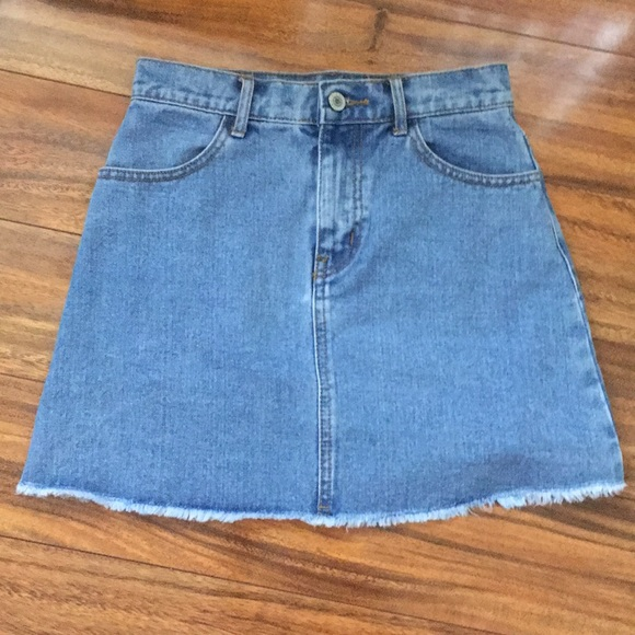 Brandy Melville Frayed Bottom Denim Jean Skirt