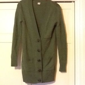 Green button down cardigan