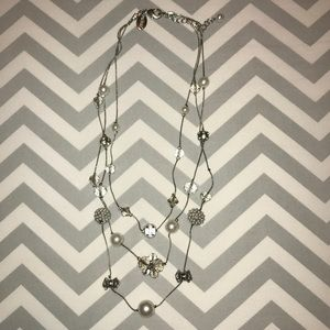 WHBM silver pearl & beads 3 layered necklace