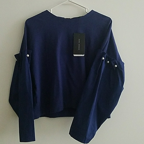 bc99c267209 ZARA Woman Sz M Navy Blouse with Pearl Detail