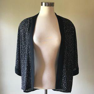 Black and White Splatter Print Short Kimono