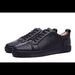 new style 46bf3 8bf0e Mens Louboutin Black Python Sneakers NWT