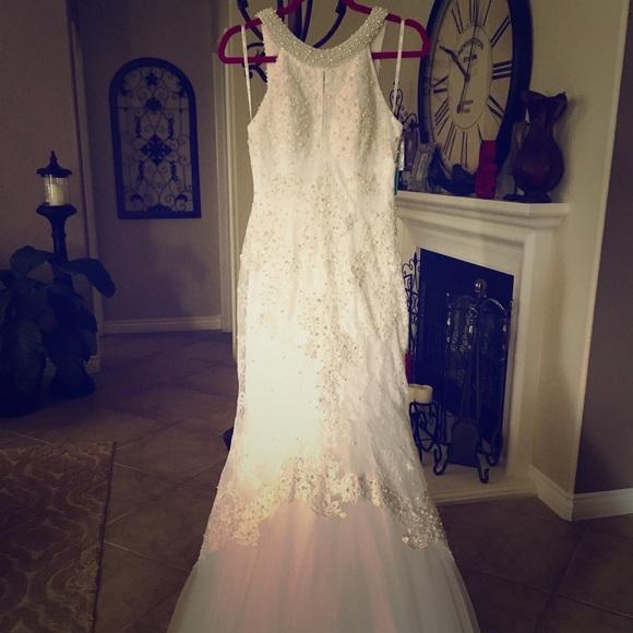 Dresses Wedding Dress Lace Pearl Illusion Back Detail Poshmark