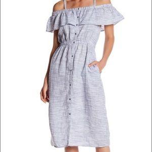 🍀 Lucky Brand Linen Off the Shoulder Dress
