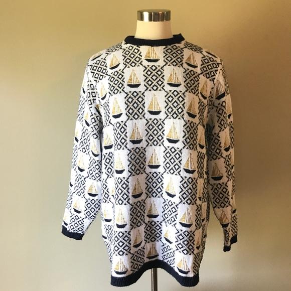 Vintage Navy White Sailboat Tunic Length Sweater. M 59b2deae2fd0b72f2203786e 57ce39288