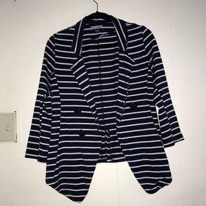 Jackets & Blazers - Navy blue and white stripped blazer
