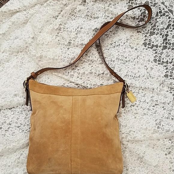 84d5a24ebdd3 Coach Handbags - Coach tan suede crossbody purse 9324