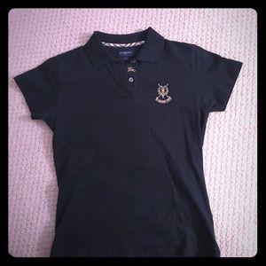 Women's Black Burberry Golf Shirt