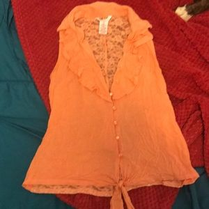 Candies lace back tank top size small