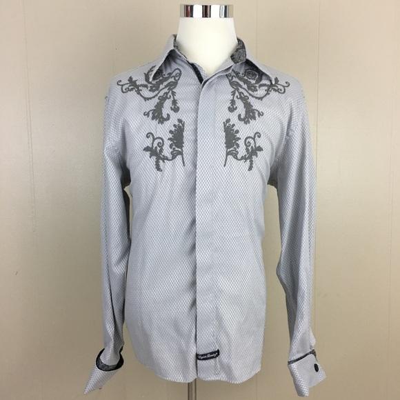 English Laundry Shirts Embroidered Shirt Mens Xl Silver