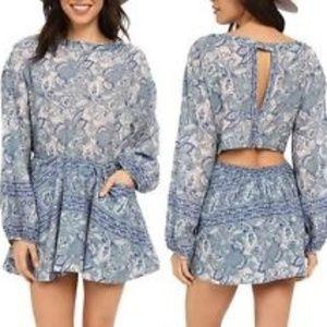 Free People boho inspired mini dress w/open back