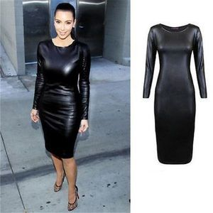 Dresses & Skirts - Black faux leather dress