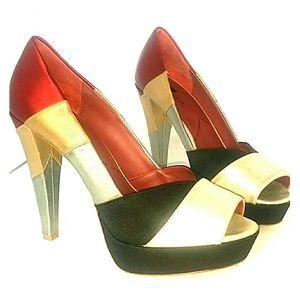 7 For All Mankind Metallic Platform Heels!