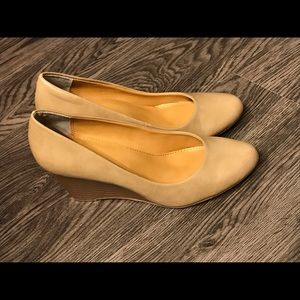 Nude wedges worn once