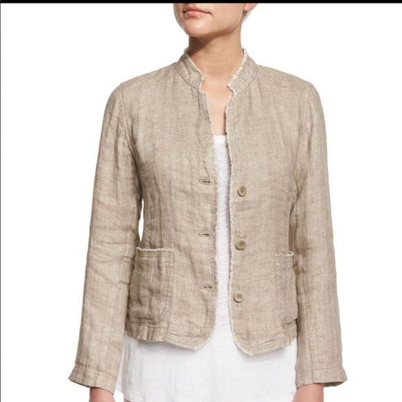fc0c0805807 Eileen Fisher Jackets & Coats | Organic Linen Mandarin Collar Jacket ...