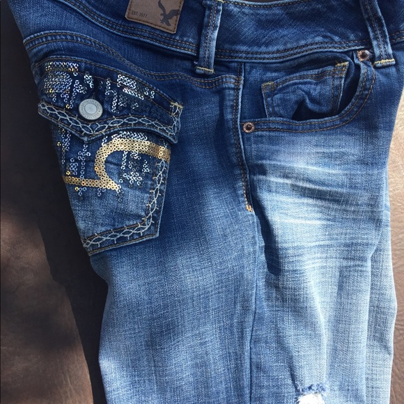 American Eagle Outfitters - NEW | AEOud83eudd85Distressed Sequined Boot Cut Jeans from The posh boutique ...