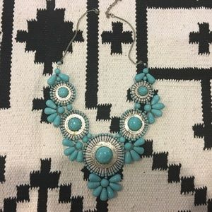 Turquoise statement bib necklace