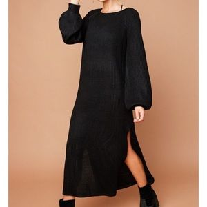 🆕Xenia Black Sweater Bell Sleeve Sweater Dress